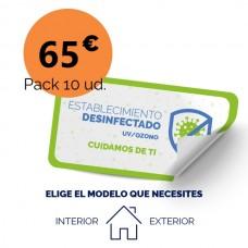 Etiqueta Desinfección Papel Adhesivo Blanco 14x28 Interior (10 unidades)